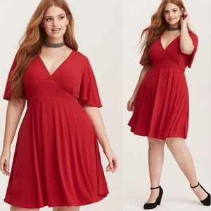Torrid Flutter Sleeve Red Mini Dress Fit And Flare